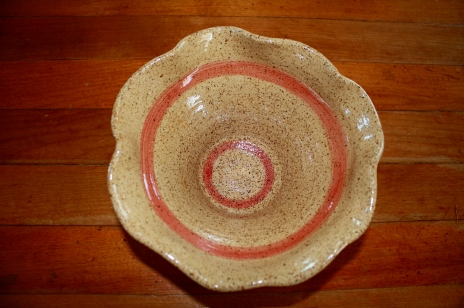 brown and red bowl