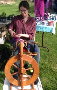 Spinning demo at the Museum Market